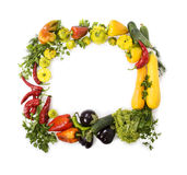 Colorful vegetable frame. Fresh vegetable frame on white Royalty Free Stock Photos