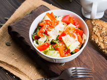 Colorful vegetable salad bowl Stock Photography