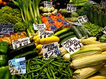 Colorful Vegetable Stand in Seattle royalty free stock photography