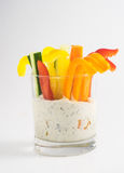 Colorful vegetable sticks in two glasses Stock Images