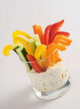 Colorful vegetable sticks in two glasses Stock Image