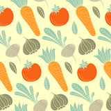 Colorful vegetable vector seamless pattern with carrot, tomato, turnip, radish etc. Organic food hand drawn background. Royalty Free Stock Image