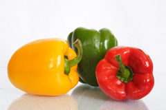 Colorful vegetables. Fresh peppers on white background royalty free stock photos