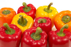 Colorful vegetables. On white, beatiful peppers Royalty Free Stock Image