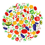 Colorful vegetables arranged in circle  on white. Stylized vegetables arranged in circle against white background. Vegetarian raw eating concept. Great design Royalty Free Stock Photography