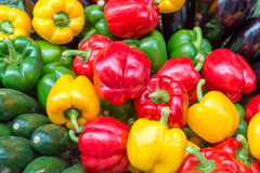 Colorful vegetables background on a market. Yellow, green and red bell peppers, zucchinis and eggplants, summer vegetable Stock Image