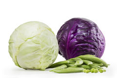 Colorful vegetables. Cabbage and organic string beans Royalty Free Stock Photos