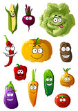 Colorful vegetables characters with happy smiles Royalty Free Stock Photography