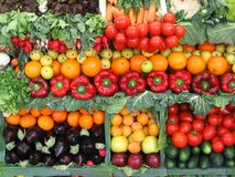 Colorful vegetables and fruits. Fresh vegetables and fruits at a farmer's market Stock Photo