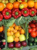 Colorful vegetables and fruits. Fresh vegetables and fruits at a farmer's market Royalty Free Stock Photo