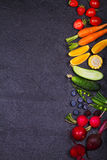 Colorful Vegetables, Fruits and Berries - Healthy Food, Diet, Detox, Clean Eating or Vegetarian Concept stock photography