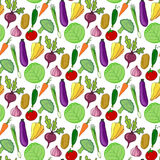Colorful vegetables hand drawn seamless pattern. Vector illustration. Vegetable stylized background for design. Stock Images