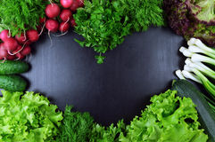 Colorful vegetables ingredients . Fresh vegetables background. The concept of proper nutrition. The body loves healthy foods.Top view of healthy food, herbs and Stock Photos