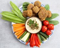 Vegetables and humus. Royalty Free Stock Images