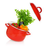 Colorful vegetables in a red cooking pot Royalty Free Stock Photos