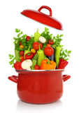 Colorful vegetables in a red cooking pot Stock Photo