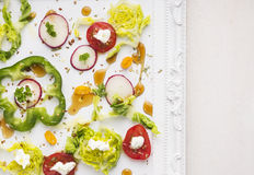 Colorful vegetables in salad on tray,copy space Stock Image