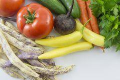 Colorful vegetables on the table ready for preparing food Royalty Free Stock Photos