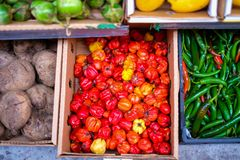 Colorful vegetables in a Vietnamese supermarket royalty free stock images