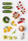 Colorful Vegetables. On a White Background from Above Stock Images