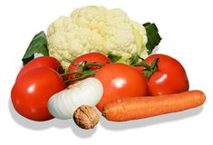 Colorful vegetables on white background Stock Photos