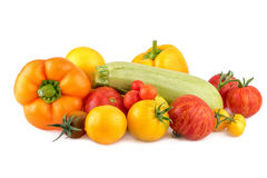 Colorful vegetables on white background. Fresh vegetable as cooking ingredients Stock Photography