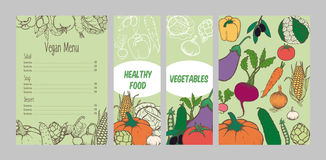Colorful Vegetarian Menu Template. With hand drawn healthy vegetables and different meals vector illustration Stock Photos