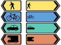 Colorful vehicle signs Stock Images