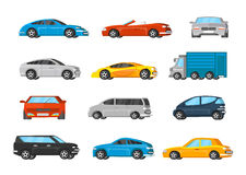 Colorful Vehicles Collection. With sedan minivan coupe cabriolet crossover cars and truck isolated vector illustration vector illustration