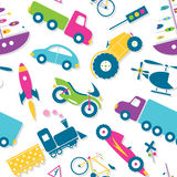 Colorful vehicles pattern. Illustration of trucks, cars, tractor, boat, rocket, bicycle, motor bike, helicopter, train and road signs pattern on white background royalty free illustration