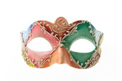 Colorful Venetian carnival mask isolated on white background. Front view stock image
