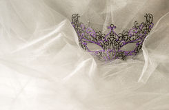 Colorful Venetian Face Mask on Tulle Fabric royalty free stock photos
