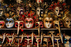Colorful Venetian Masks. A stand full of colorful Venetian masks Stock Photos