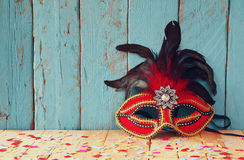 Colorful Venetian masquerade mask. selective focus. vintage filtered Royalty Free Stock Photography