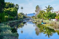 Colorful Venice Canals in Los Angeles, CA royalty free stock photography
