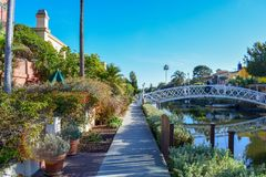 Colorful Venice Canals in Los Angeles, CA royalty free stock images