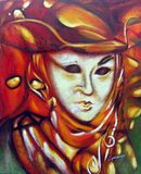 Colorful venice carnival masks original artwork acrylic on canvas Buenos Aires Argentina. Southamerica Stock Image