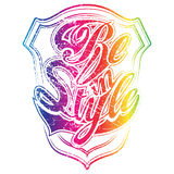 Colorful version of Be in Style print. Can be used for apparel and other merchandise stock illustration