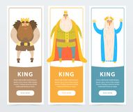 Colorful vertical banners of bearded kings with golden crowns. Ruler of the kingdom. Comic flat characters. Vector illustration with place for text. Design for Royalty Free Stock Image