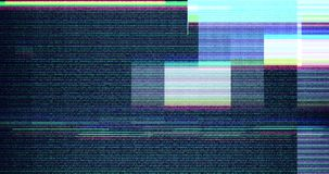 Colorful vhs glitch background realistic flickering, analog vintage TV signal with bad interference, static noise background. Overlay ready stock footage