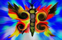 Digital Painting of an abstract butterfly. A colorful and vibrant digital painting of an abstract butterfly stock illustration