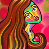 Love is Near Digital Painting. A colorful and vibrant digital painting of a young woman clutching a small heart with her long hair Royalty Free Stock Images