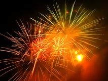 Colorful and vibrant fireworks Stock Photo
