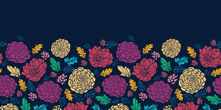 Colorful vibrant flowers on dark horizontal. Vector Colorful vibrant flowers elegant horizontal seamless pattern background ornament on dark blue vector illustration