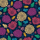 Colorful vibrant flowers on dark seamless pattern Stock Photos