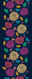 Colorful vibrant flowers on dark vertical seamless. Vector Colorful vibrant flowers elegant vertical seamless pattern background ornament on dark blue royalty free illustration