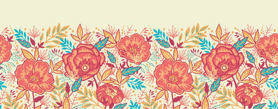 Colorful vibrant flowers horizontal seamless. Vector Colorful vibrant flowers elegant horizontal seamless pattern background ornament vector illustration