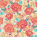 Colorful vibrant flowers seamless pattern. Vector Colorful vibrant flowers elegant seamless pattern background Royalty Free Stock Photos