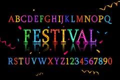 Colorful vibrant fun festive party alphabet. Font letters. Vector illustration Stock Image