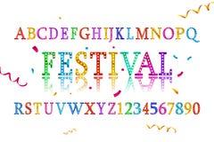 Colorful vibrant fun festive party alphabet. Font letters. Vector illustration Stock Photography